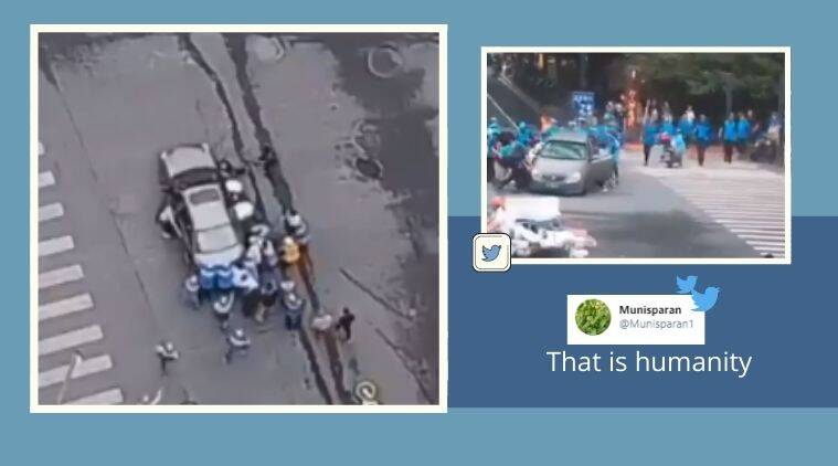 Bike accident, CCTV footage, viral video, Hangzhou, China, Trending news, Indian Express news
