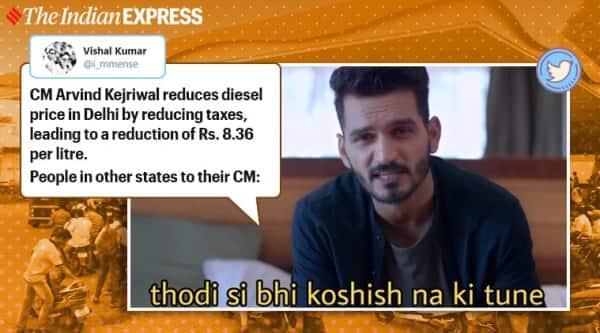 delhi, delhi diesel price, arvind kejriwal, delhi vat cut diesel, delhi diesel price rs 8.36, fuel price memes, indian express