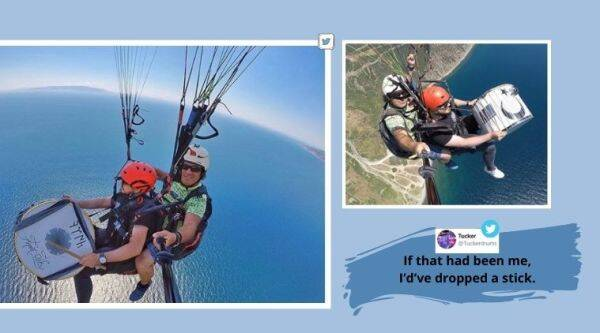 Paragliding video, Drums, Man plays drums paragliding, Turkish man paragliding, Turkey paragliding video, Viral video, Trending news, What is trending, Turkey,  Indian Express, Indian express news