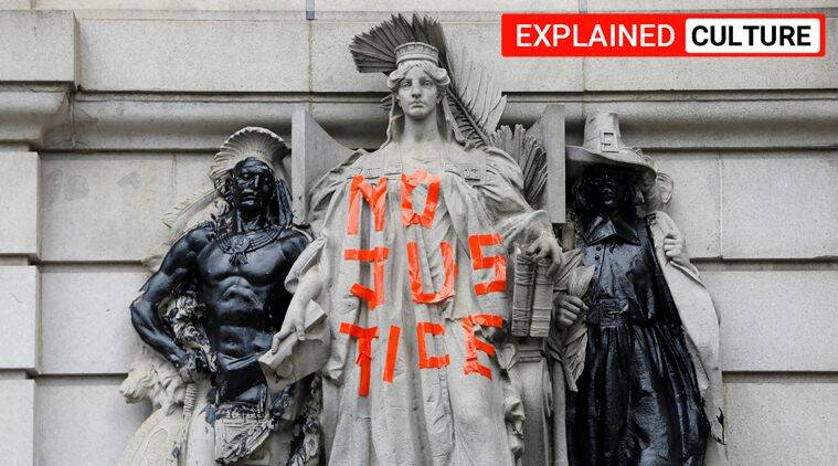 Black Lives Matter,Black Lives Matter statues, Christopher Columbus statue, jefferson davis statue, indian express, express explained, george floyd movement,