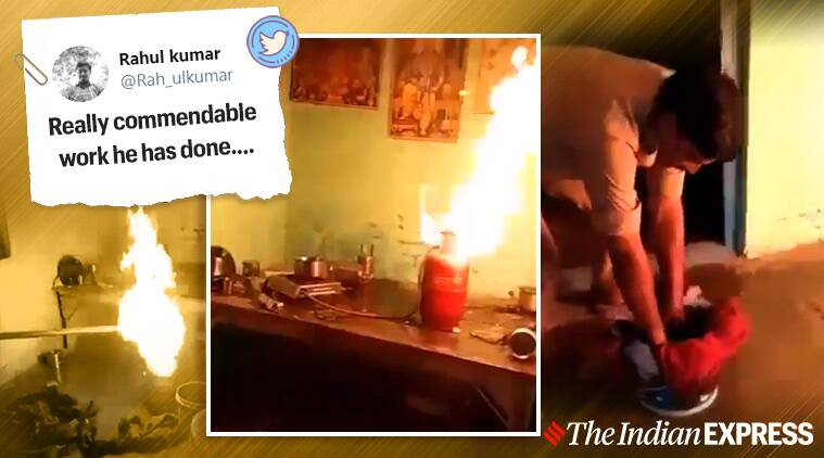 fire, cop extinguishes fire viral video, cylinder fire, priest's hut fire viral video, Sambhal Police, UP