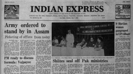 Indian express forty years ago, assam talks, assam band, 1980, former Prime minister Indira Gandhi, atal bihari vajpayee, pakistan protests, shia protests, indian express news