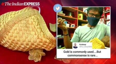 COVID-19, Coronavirus, Gold mask, Silver mask, gold face mask, golden thread face mask Coimbatore, Goldsmith, Golden mask, 18-carat gold mask, COVID-9 updates, Trending news, Indian Express news.