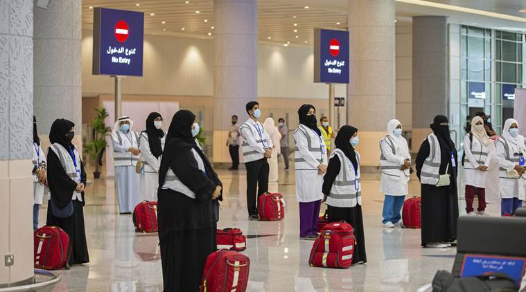 Pilgrims show up in Mecca for downsized hajj which amid pandemic