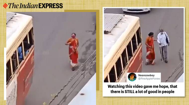 kerala woman blind man bus, kerala woman help blind man, viral videos, kerala woman help blind man, viral news, good news, indian express