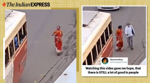 kerala woman blind man bus, kerala woman help blind man, viral videos, kerala woman help blind man, viral news, good news, indian express