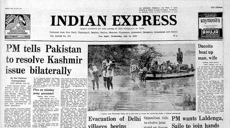 indian express archive, india pak relations, simpla agreement india pak