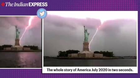 new york thunderstorm, statue of liberty lightning struck, lightning bolt statue of liberty, nyc storm videos, viral videos, indian express