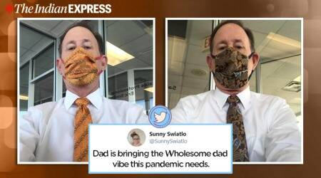 San Antonio, Texas, face mask, matching face mask and tie, colorful face masks, COVID-19 updates, Coronavirus, Trending news, Indian Express news