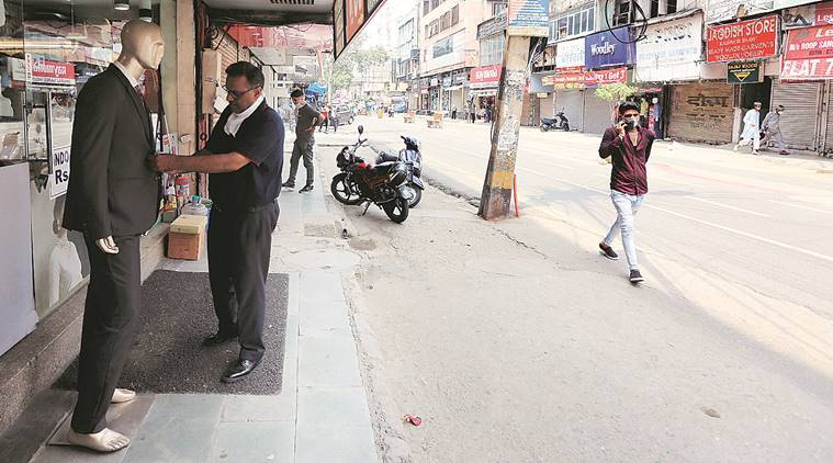Vehicle-Free area, Karol Bagh traders, Empty streets, Delhi news, Indian express news