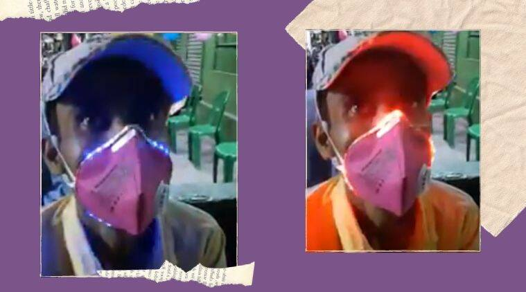 Face mask, COVID1-19, Coronavirus, Kolkata, Bengal, LED face mask, Kolkata man, LED light face mask, Face mask with lights, Trending news, Indian Express news