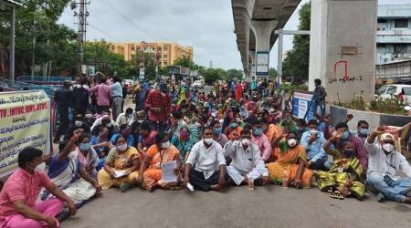 Outsourced employees at Telangana's nodal center for Covid treatment on day-long strike