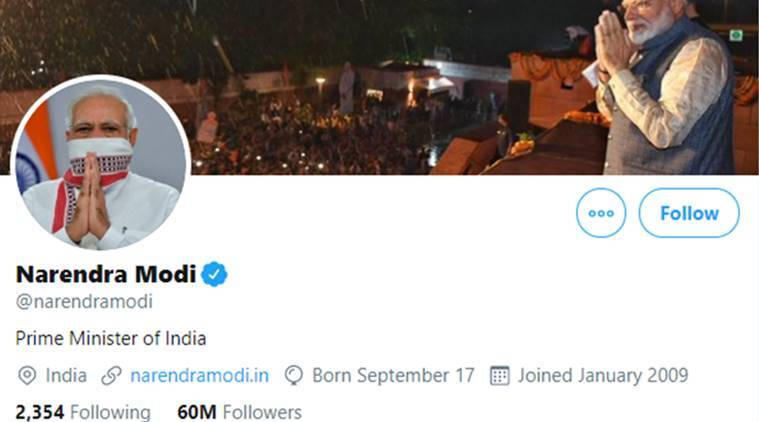 PM Modi, PM Modi Twitter, PM Modi Twitter followers, PM Modi Twitter handle, India news, Indian Express