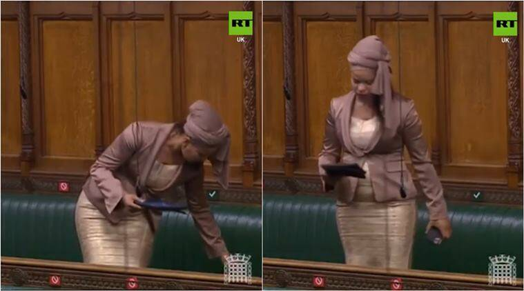 uk mp phone rings in parliament, claudia webbe phone parliament, british mp parliament phone meltdown, house of commons, viral video, indian express