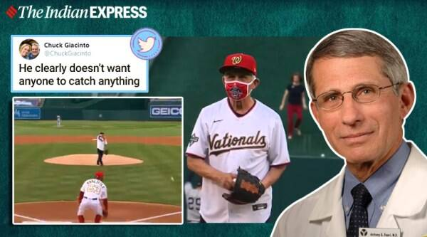 dr anthony fauci, dr fauci baseball opening pitch, dr fauci yankee opening pitch, dr fauci mlb pitch, Washington Nationals dr fauci, viral news, indian express