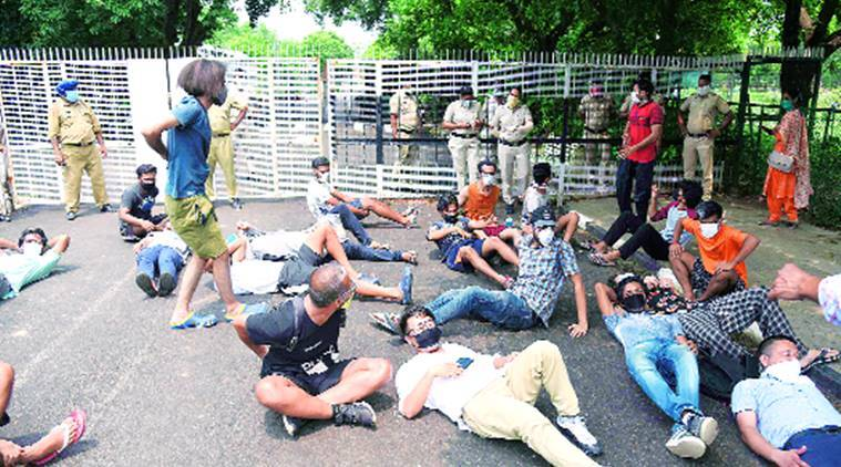 Pressured to vacate hostels, PU students protest outside V-C office