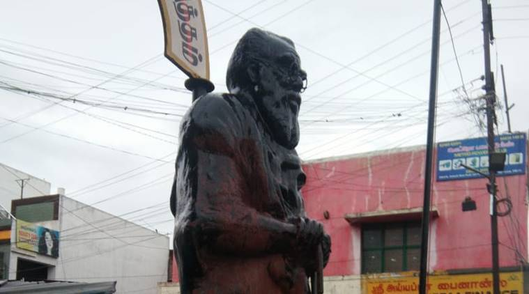 periyar, periyar statue, periyar statue saffron paint, periyar statue desecrated, coimbatore news, periyar statue news, indian express