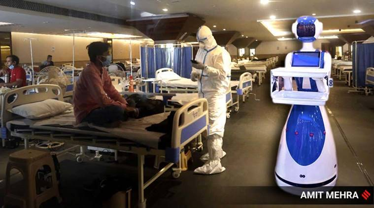 coronavirus, covid 19 AIIMS , robot in covid 19, coronavirus robot help hospital, Fortis Bangalore, Healthians, milagrow, indian express news