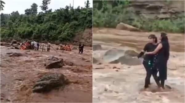 girls caught pench river, pench river selfie caught, dangerous selfie, girls rescued pench river, selfie gone wrong, viral news, madhya pradesh news, indian express