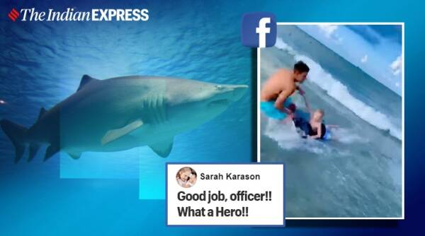 cop saves boy shark attack, shark close encounter florida beach, florida beach shark near surfer, good news, viral news, indian express