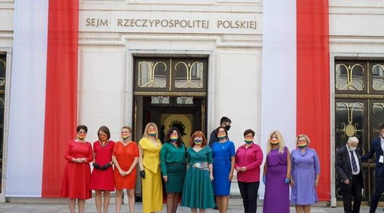 At President S Swearing In Polish Mps Turn Up In Coordinated Outfits To Form Rainbow Trending News The Indian Express