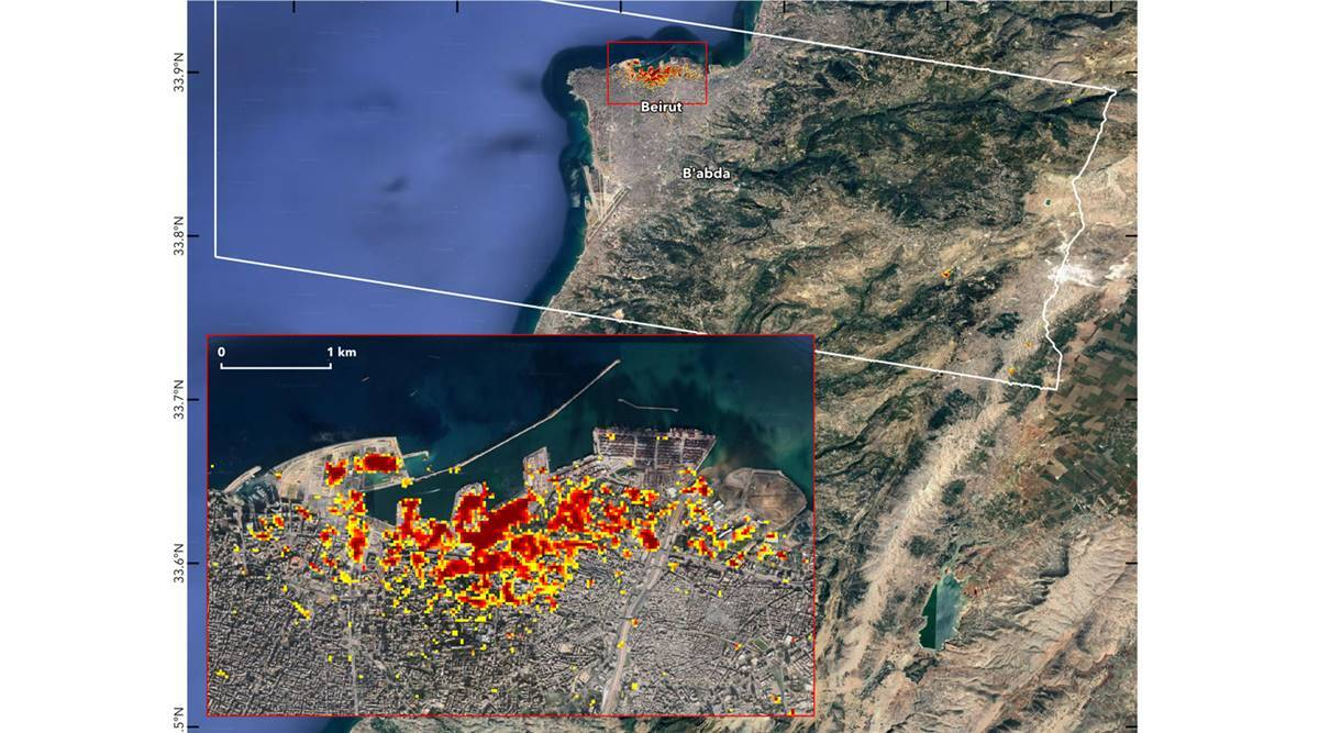 NASA releases map showing the impact of Beirut blast - The Indian Express