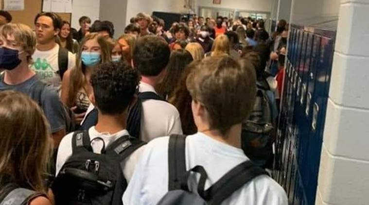 Two US school students suspended for sharing photos of crowded hallways
