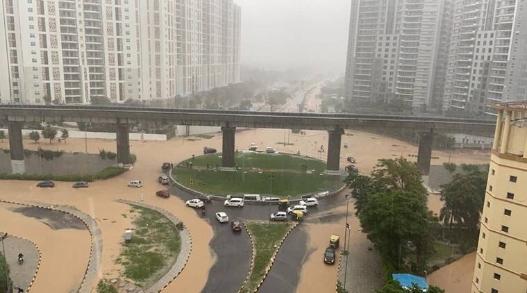 Gurgaon, Gurgaon news, Gurgaon waterlogging, Gurgaon floods, Gurgaon rains, Gurgaon weather forecast, Indian Express