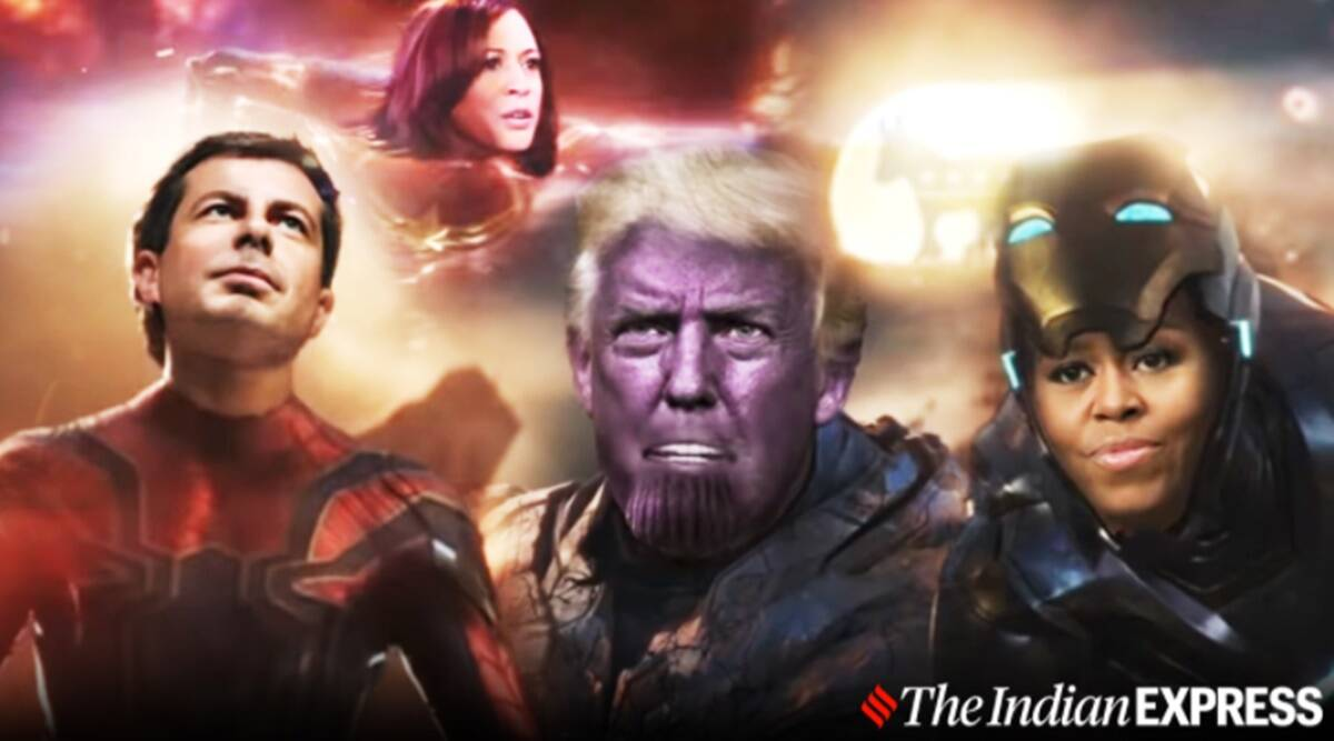 Stephen Colbert, Late Show, US presidential campaign, Avengers End Game, Endgame spoof, US presidential campaign spoof, US election 2020, Joe Biden, Avenger endgame spoof trailer, US President Donald Trump, Trending news, Indian Express news