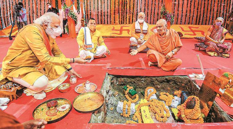 Modi marks the Mandir