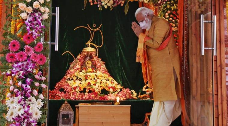 Ayodhya Ram temple, Prime minister Narendra Modi, PM Modi lays foundation stone for ram temple, Ayodhya, Ram temple latest news, India news, PM Modi speech, Indian express