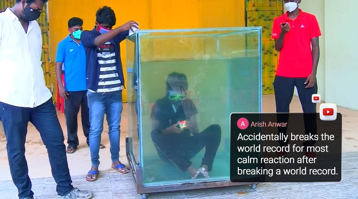 Guinness world record, Illayaram Sekar, Illayaram Sekar rubik cube, Illayaram Sekar underwater rubik cube, indians guinness world records, viral news, indian express,