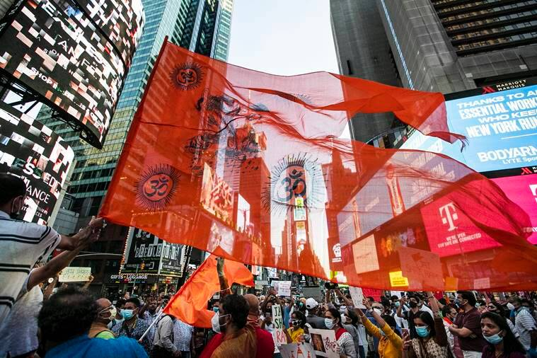 Ram image in Times square, Lord Ram's image displayed at iconic Times Square in New York , New York Celebrates Ayodhya Bhoomi Pujan, Ram image in New York, India news, Indian express