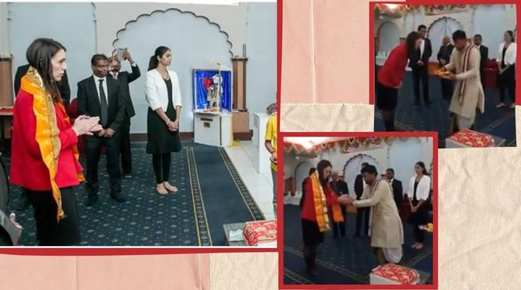 New Zealand PM Jacinda Ardern, Radha Krishna Temple,  Jacinda Ardern Radha Krishna Temple, viral video, trending news, indian express news