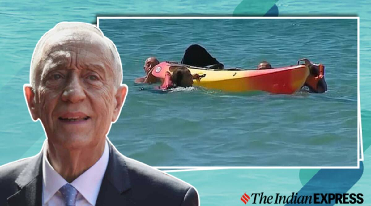 Portuguese president, Marcelo Rebelo de Sousa, Kayakers rescue, Rescue video, Portugal, Trending news, Algarve, Viral videos, Indian Express news