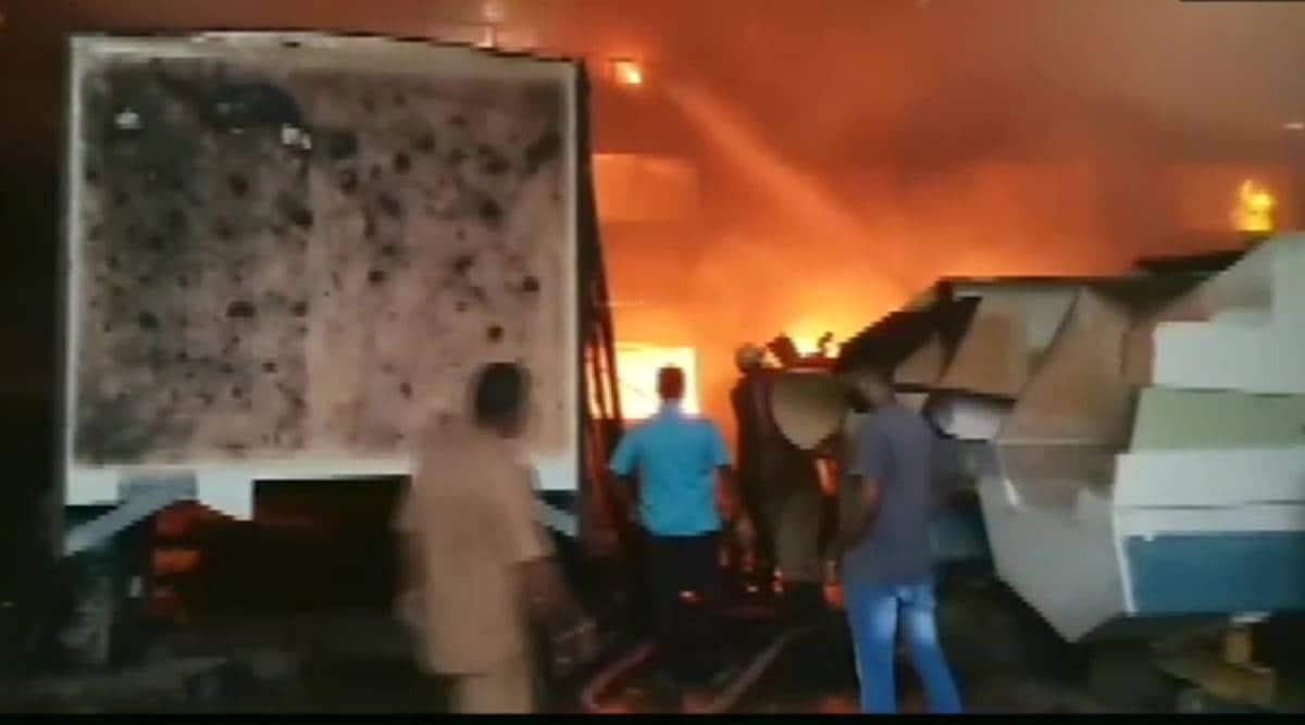 Puducherry fire, Puducherry boat factory fire, Puducherry news, Coconot harbour fire, Puducherry news, Indian express news