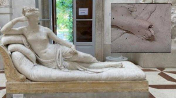 Italy, CCTV footage, sculpture damage, art damage, Italy museum sculpture damage, Paolina Borghese Bonaparte as Venus Victrix, Viral news, Trending news, Indian Express news