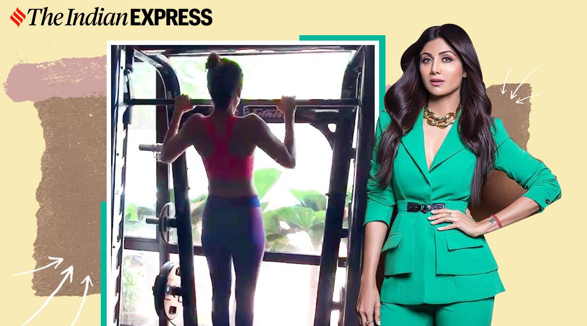 shilpa shetty fitness, fitness goals, pull ups, assisted pull ups, what are assisted band pull ups, back strength, back muscles, indianexpress.com, indianexpress,