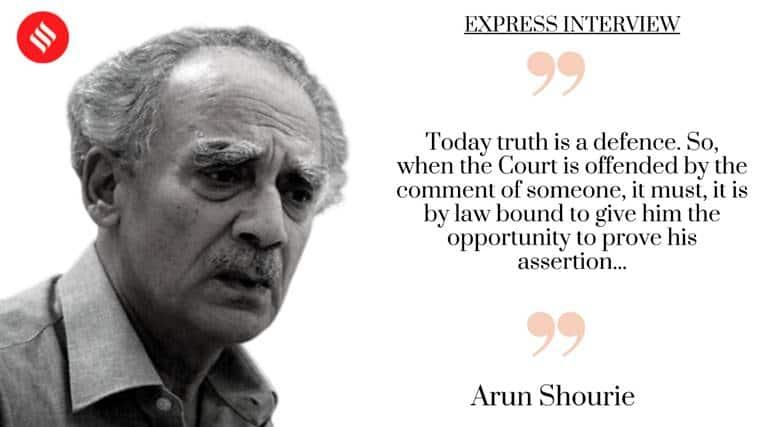 Prashant Bhushan, Prashant Bhushan contempt hearing, Contempt of court, Arun Shourie, Arun Shourie interview, Arun Shourie interview The Indian Express, Supreme Court, contempt law, Supreme Court contempt