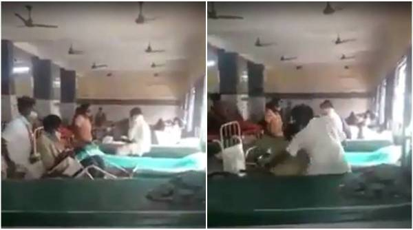 Tamil nadu hospital, Tamil nadu patient pushed from chair, TN hospital employee pushes patient, Tamil nadu government, India news, Indian express