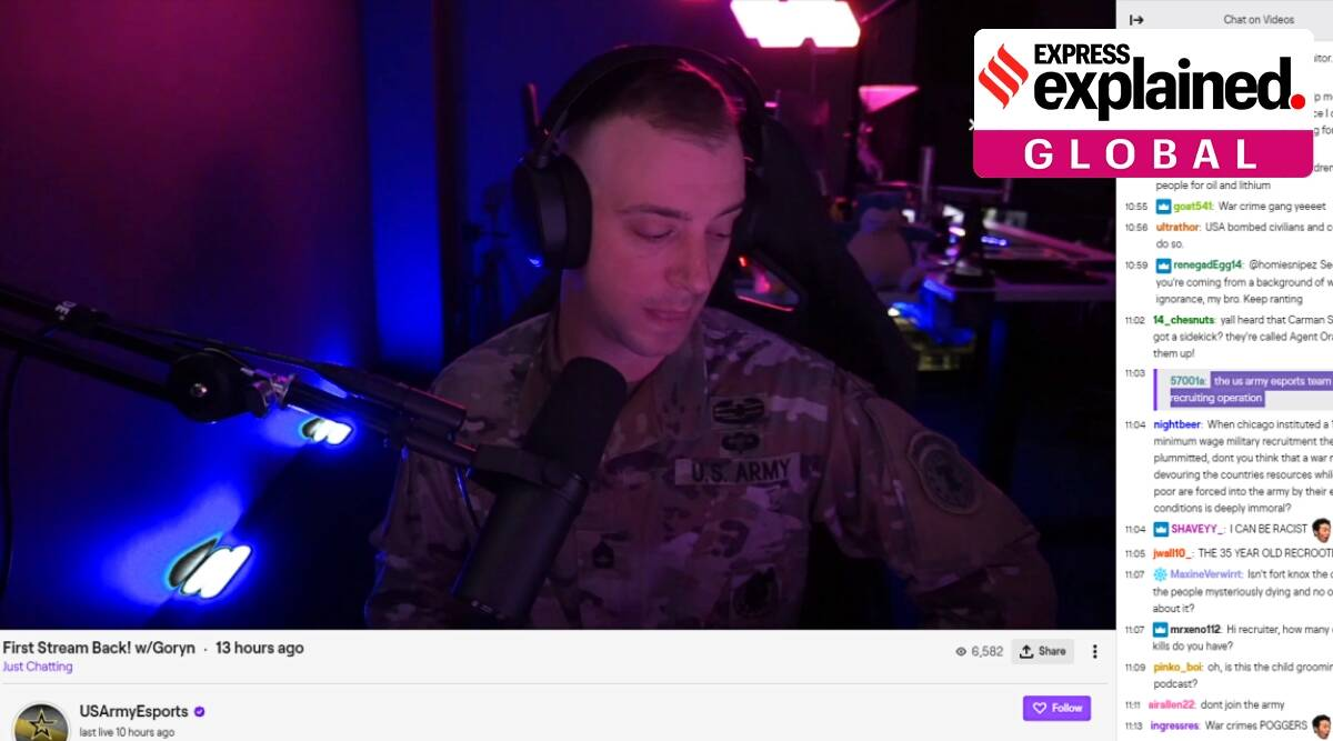 US Army video game Twitch stream, war crimes, us navy, us air force, Chris 'Goryn' Jones, American Civil Liberties Union, Alexandria Ocasio-Cortez, explained global, indian express