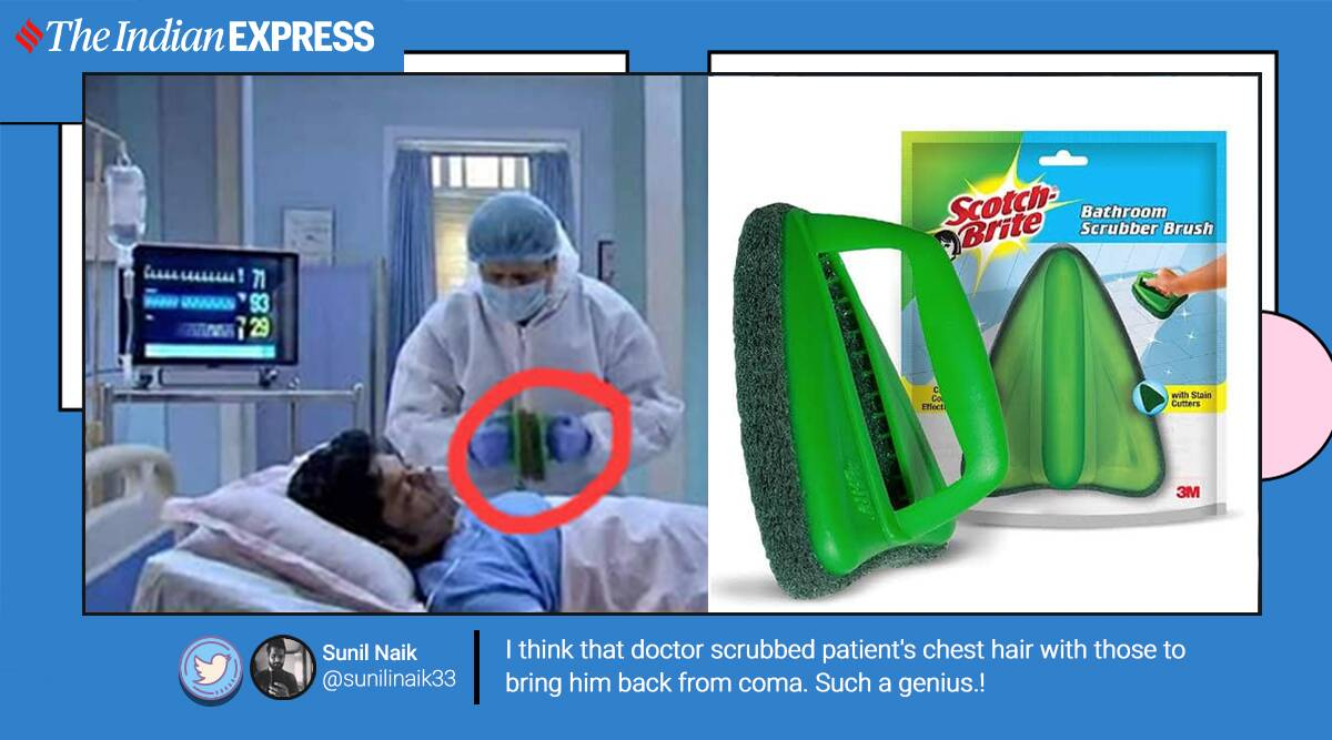 tv show use bathroom scrubs to shock patient, bathroom scrubbers to give electric shock, krishnakoli scotch brite scrubber scene, TV show bloopers, odd tv props, TV shows bizarre medical scene, viral news, funny news, indian express