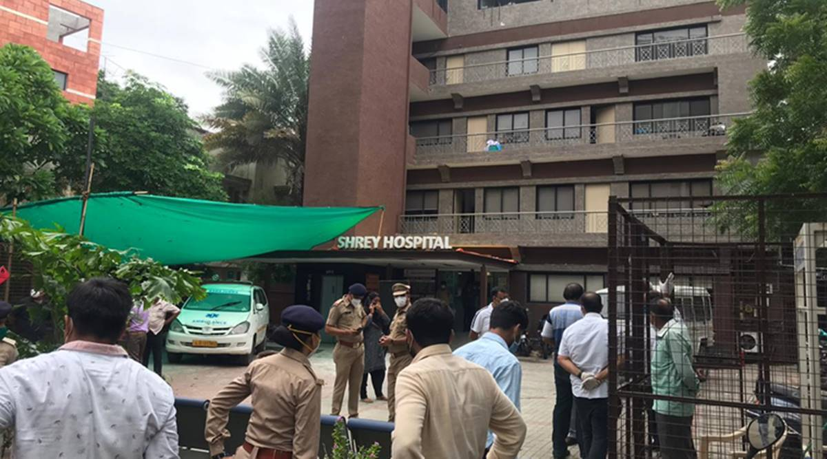 Shrey Hospital fire, Covid-19 patients, Ahmedabad news, Gujarat news, Indian express news