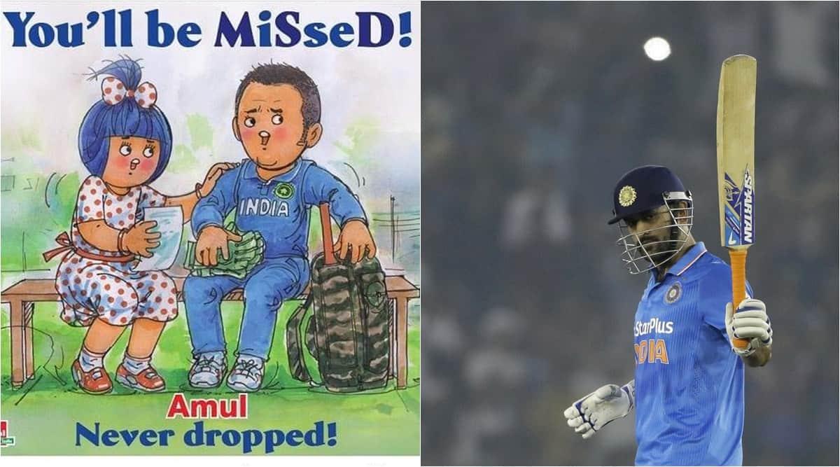 Mahendra Singh Dhoni, MS Dhoni, MS Dhoni retirement, dhoni retirement amul cartoon, dhoni retires brand posts, brand tributes dhoni retirement, viral news, cricket news, indian express
