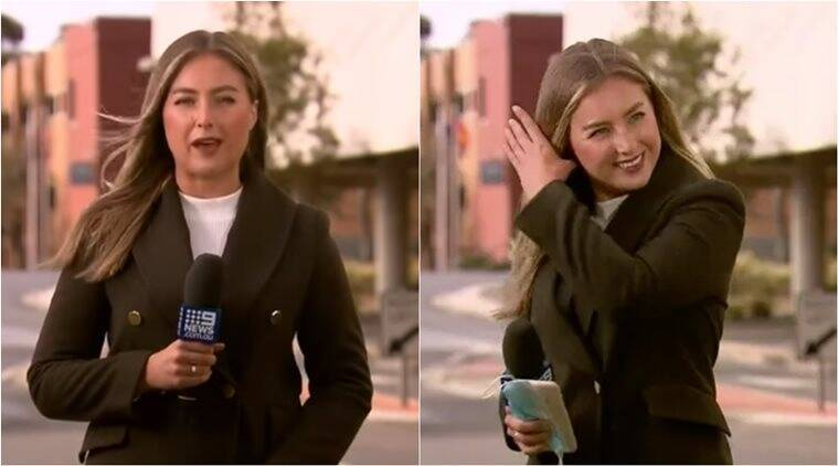 tv bloopers, reporter says f word on air, australian reporter f word tv, nine news melbourne reporter f word, viral videos, indian express,