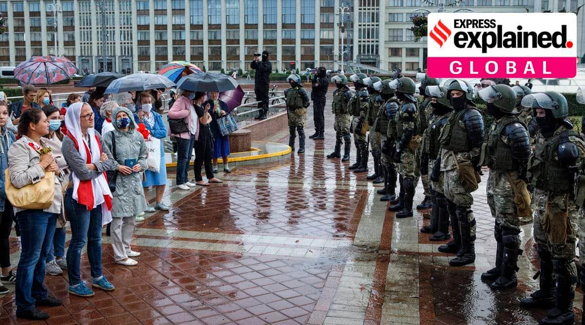 Belarus protests, journalists detained belarus, why protests in belarus, Belarus election, Alexander Lukashenko, Svetlana Tikhanovskaya, Belarus journalist attack, indian express, express explained