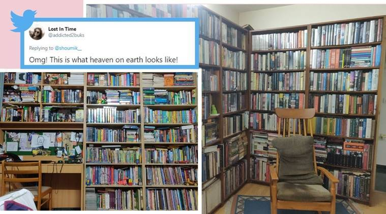 book collection man living in library viral picture
