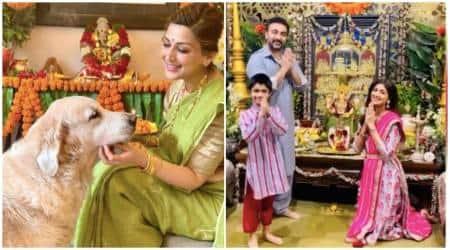 ganesh chaturthi, sonali bendre, shilpa shetty, ganesh chaturthi photos, actors on ganesh chaturthi, indian express, indian express news