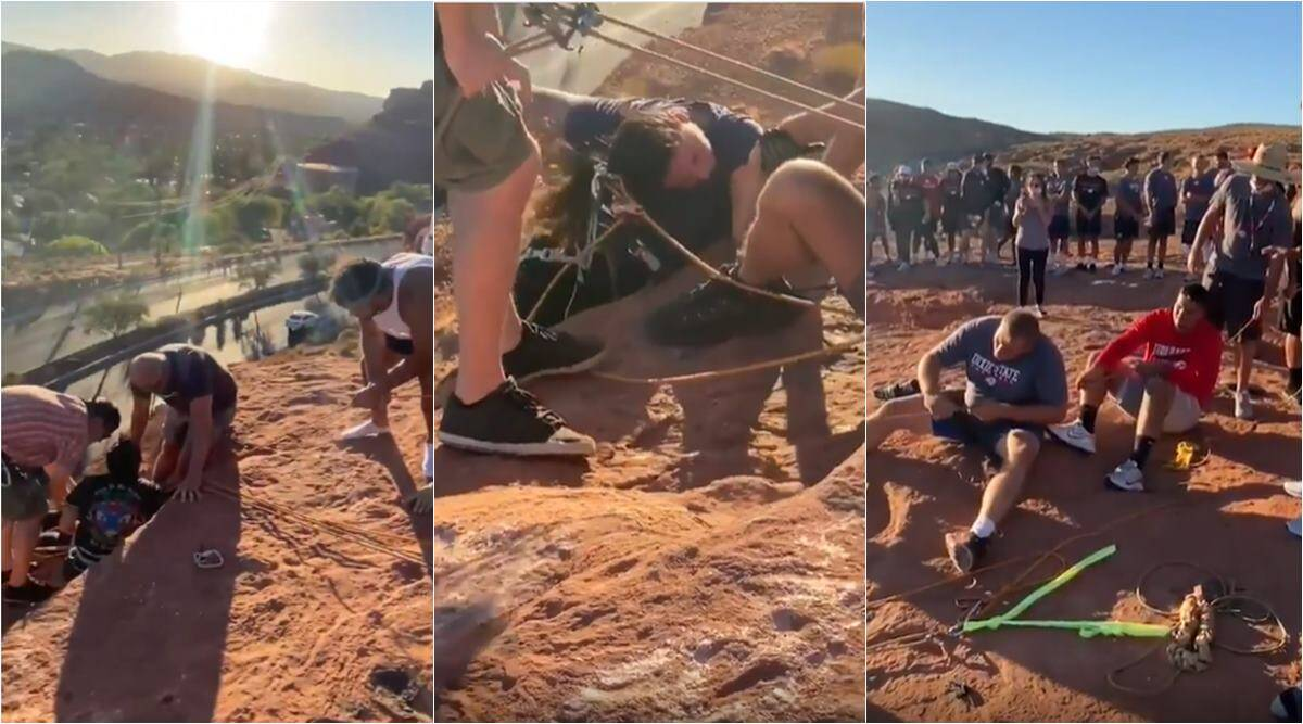 football team save woman hanging from cliff, dixie footaball team saves woman rappelling, woman saved utah cliff, viral videos, indian express
