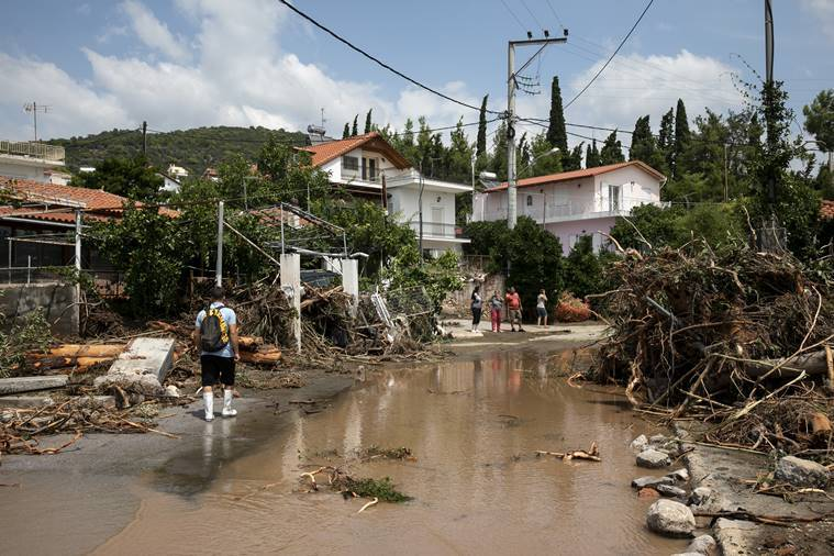 Storm floods Greek island, leaves 7 dead, including a baby